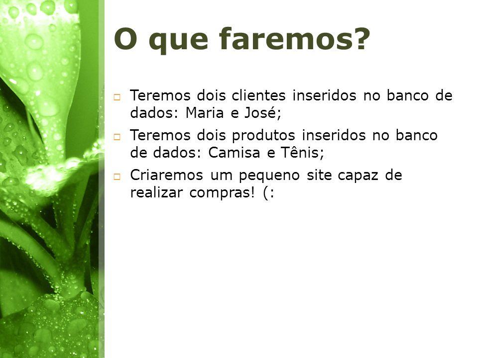 O que faremos Teremos dois clientes inseridos no banco de dados: Maria e José; Teremos dois produtos inseridos no banco de dados: Camisa e Tênis;