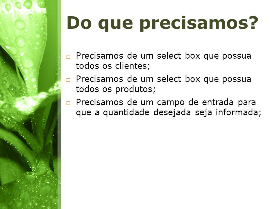 Do que precisamos Precisamos de um select box que possua todos os clientes; Precisamos de um select box que possua todos os produtos;