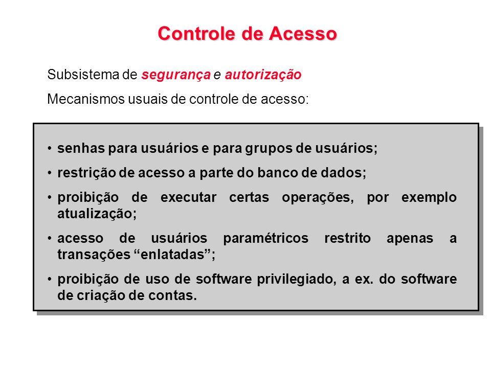 Controle de Acesso Subsistema de segurança e autorização