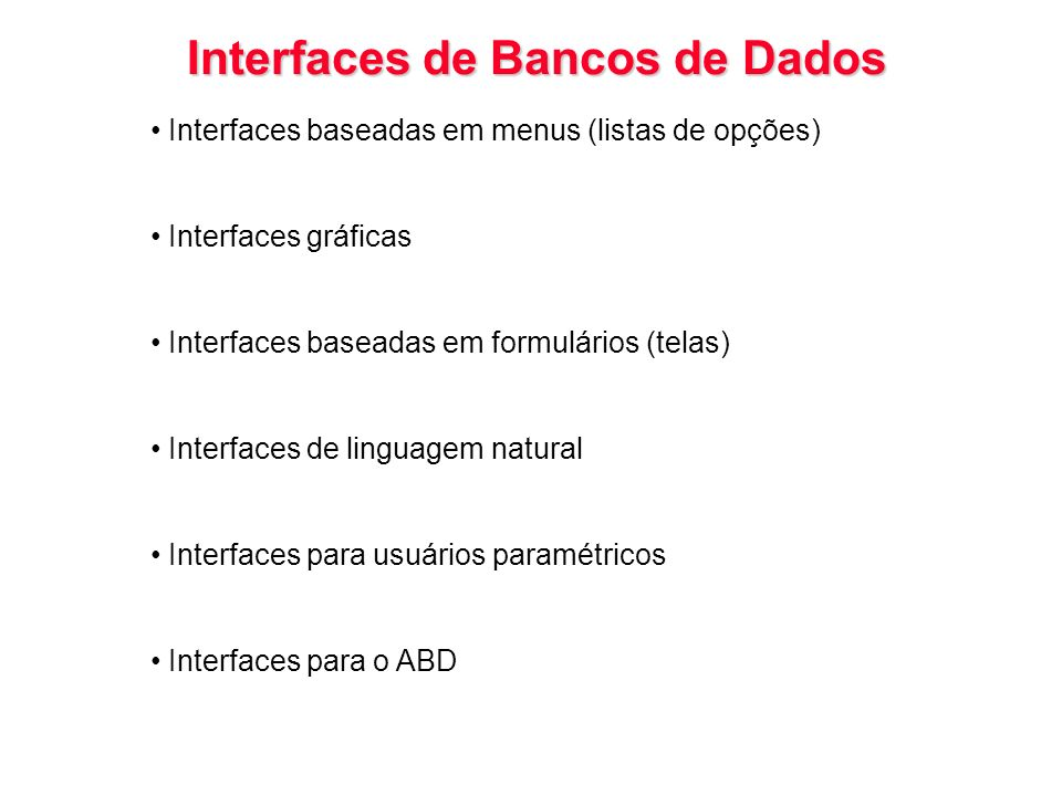 Interfaces de Bancos de Dados