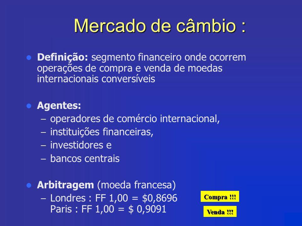 Mercado de câmbio : Definição: segmento financeiro onde ocorrem operações de compra e venda de moedas internacionais conversíveis.