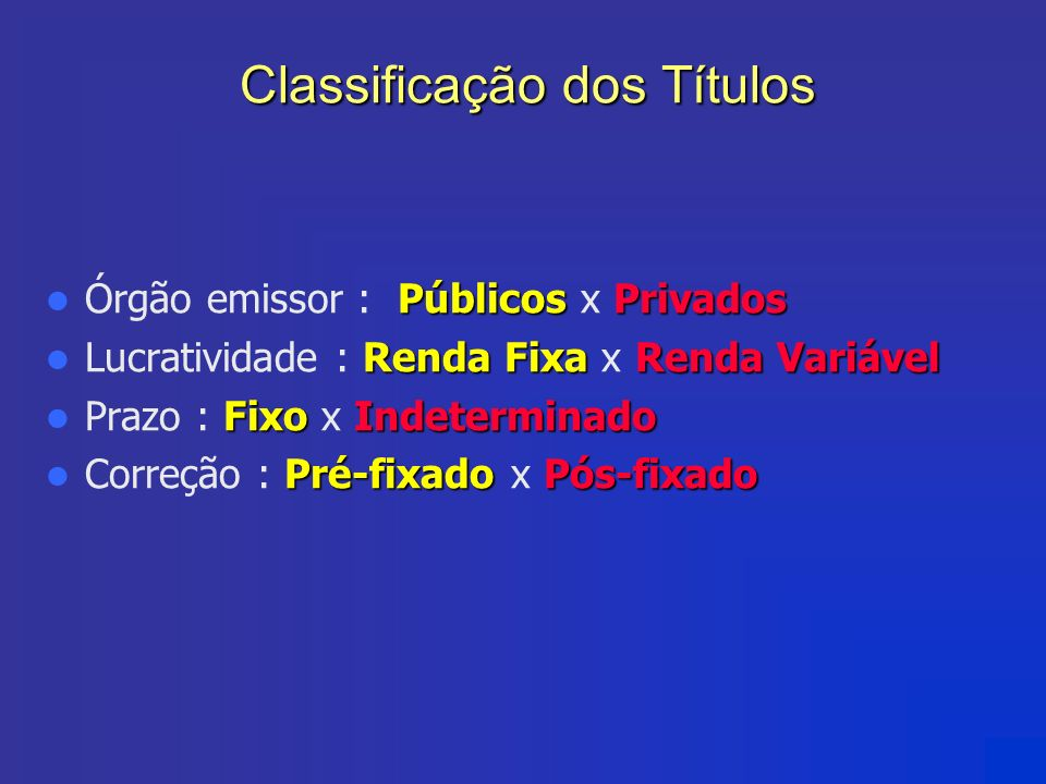 Classificação dos Títulos