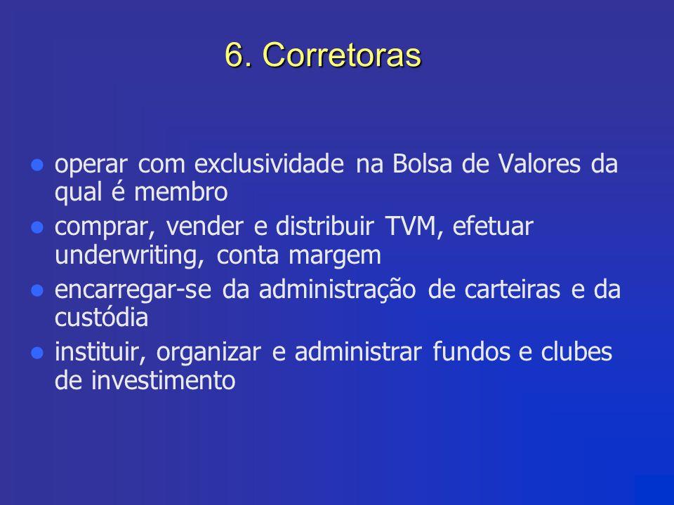 6. Corretoras operar com exclusividade na Bolsa de Valores da qual é membro. comprar, vender e distribuir TVM, efetuar underwriting, conta margem.