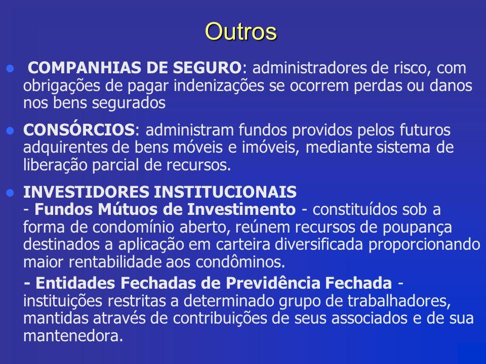 Outros COMPANHIAS DE SEGURO: administradores de risco, com obrigações de pagar indenizações se ocorrem perdas ou danos nos bens segurados.