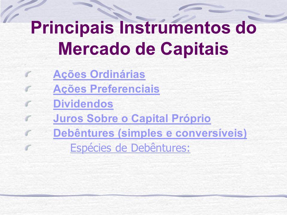 Principais Instrumentos do Mercado de Capitais