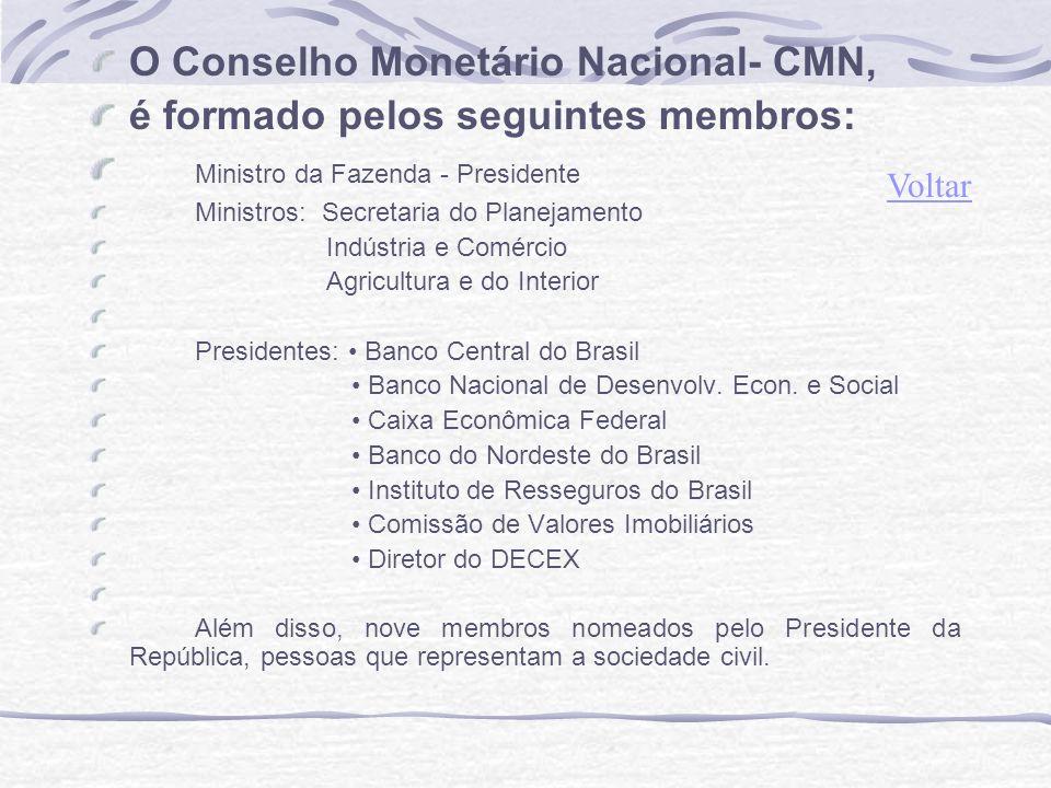 O Conselho Monetário Nacional- CMN, é formado pelos seguintes membros: