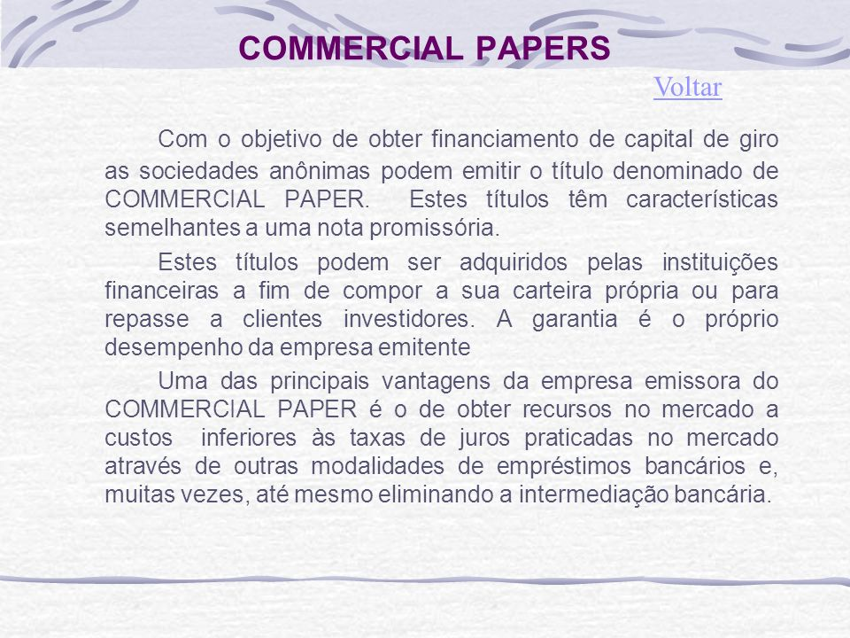 COMMERCIAL PAPERS Voltar.