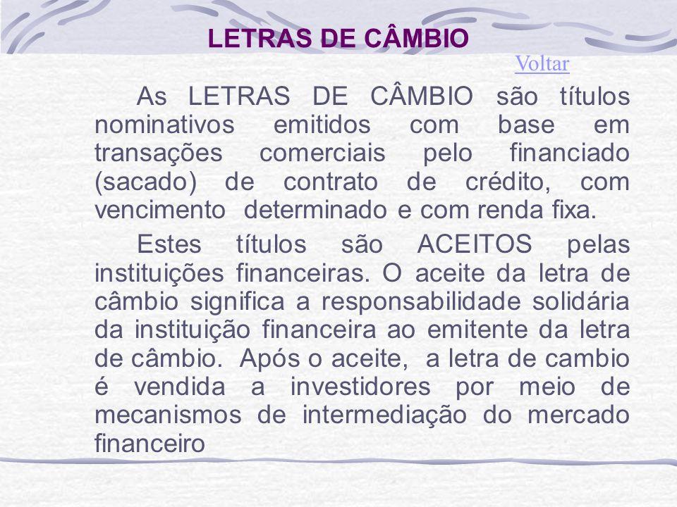 LETRAS DE CÂMBIO Voltar.