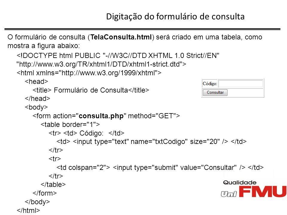 Digitação do formulário de consulta