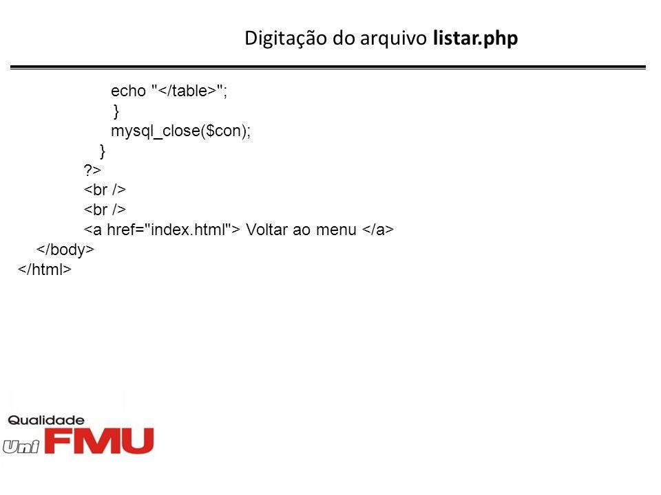 Digitação do arquivo listar.php