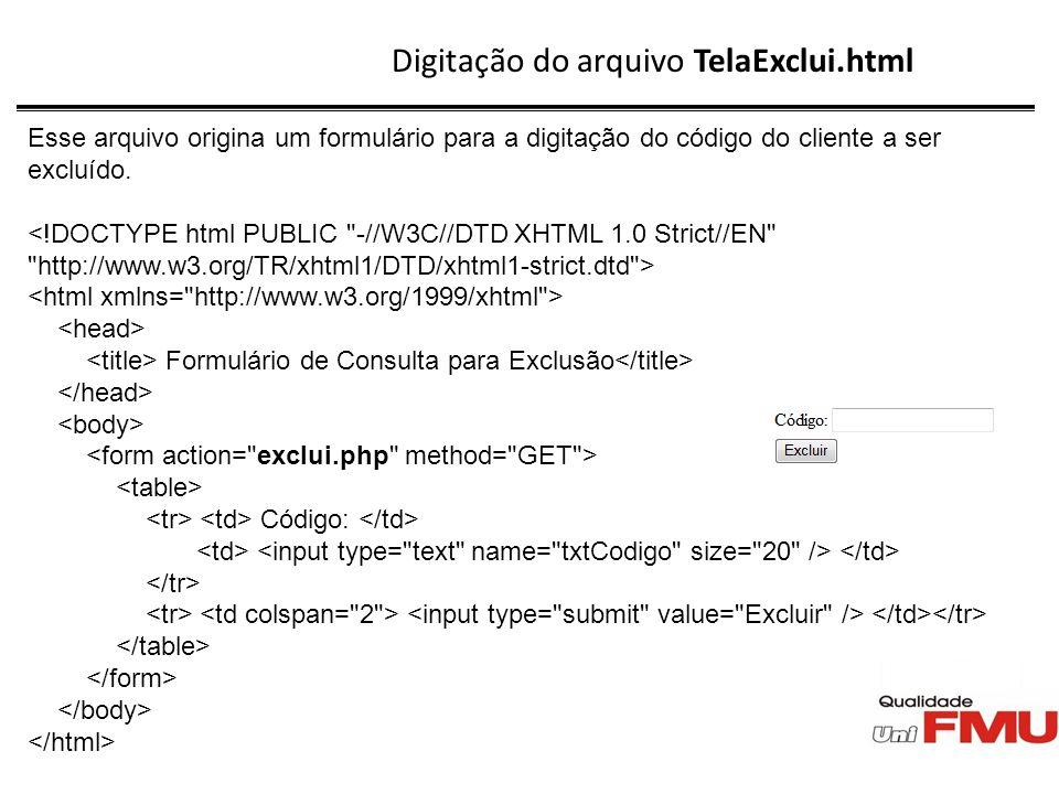 Digitação do arquivo TelaExclui.html