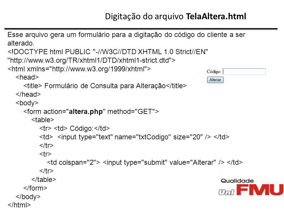 Digitação do arquivo TelaAltera.html