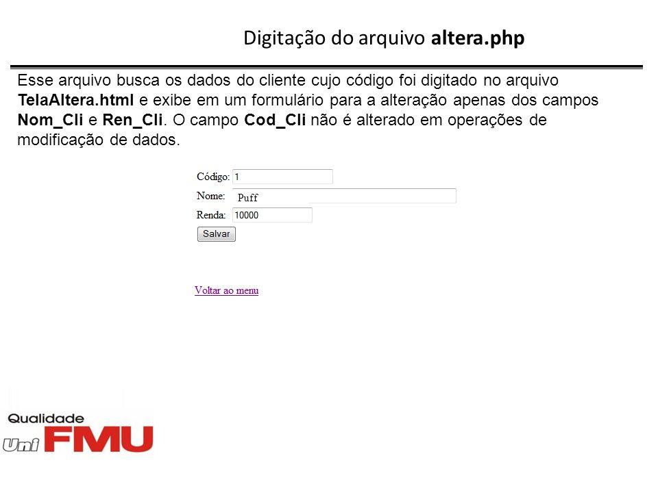 Digitação do arquivo altera.php