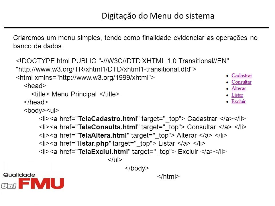 Digitação do Menu do sistema