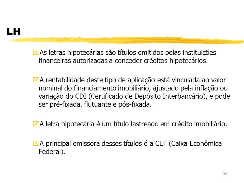 LH As letras hipotecárias são títulos emitidos pelas instituições financeiras autorizadas a conceder créditos hipotecários.