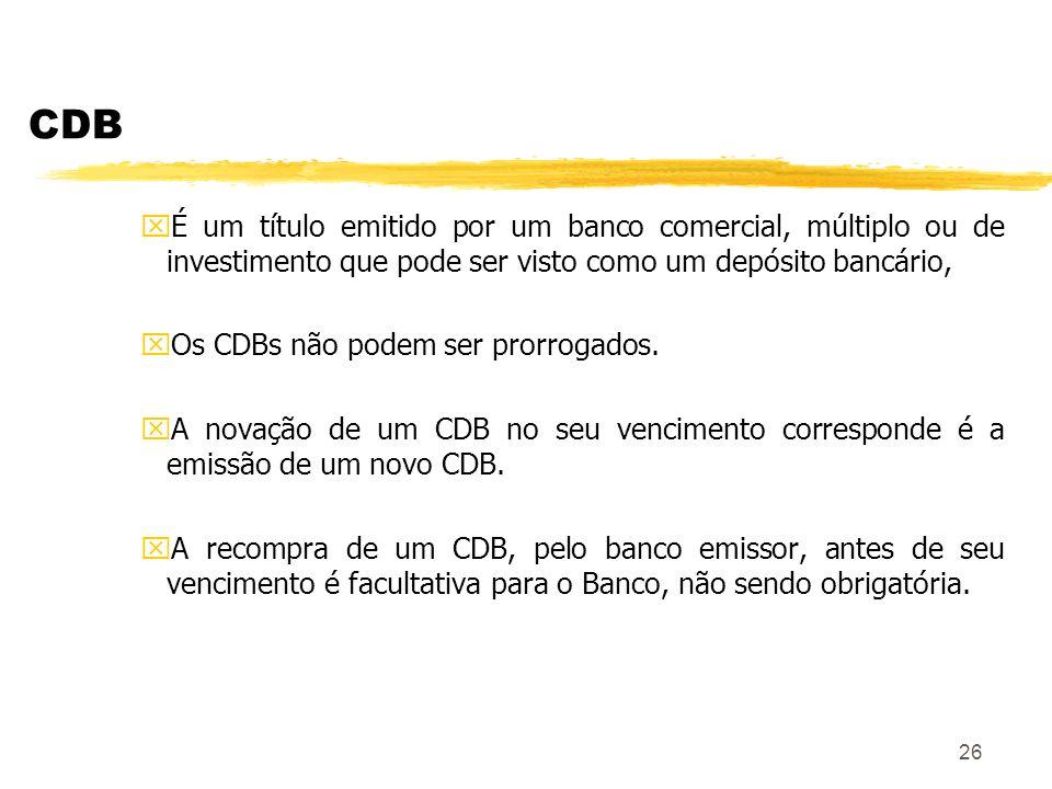 CDB É um título emitido por um banco comercial, múltiplo ou de investimento que pode ser visto como um depósito bancário,