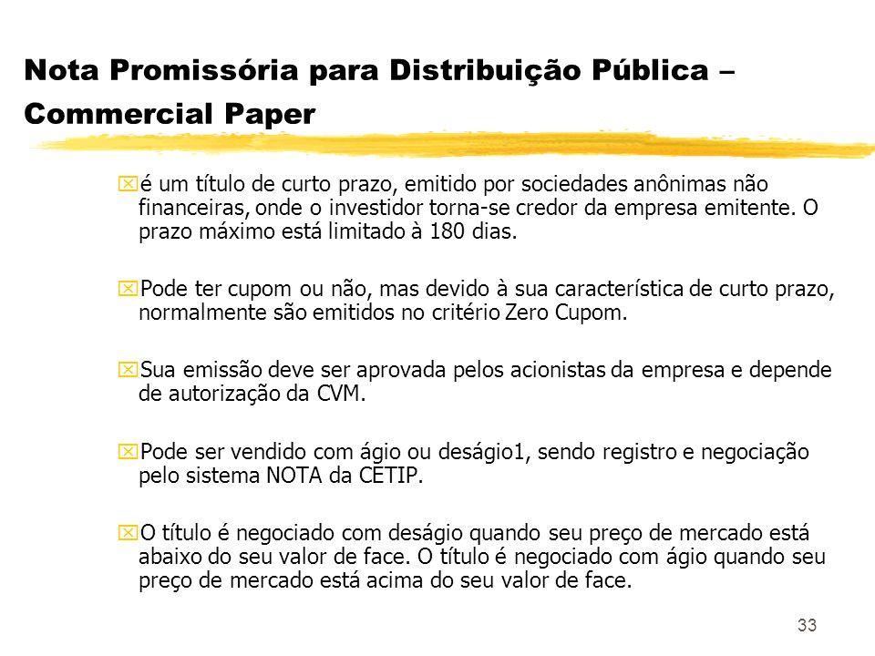 Nota Promissória para Distribuição Pública – Commercial Paper