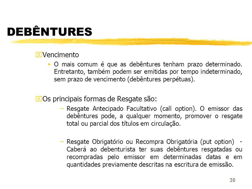 DEBÊNTURES Vencimento Os principais formas de Resgate são: