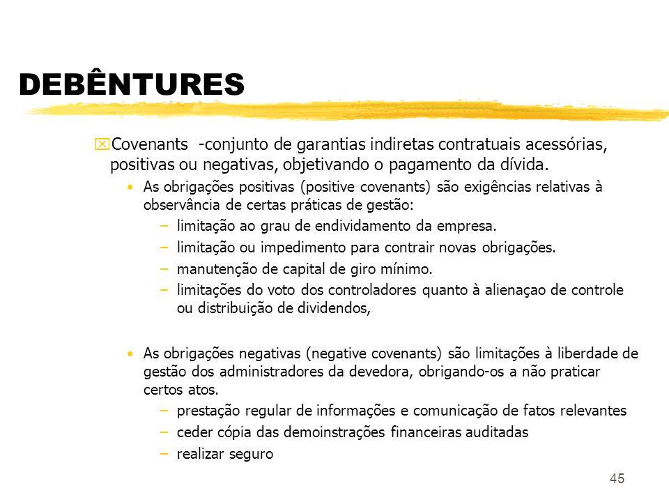 DEBÊNTURES Covenants -conjunto de garantias indiretas contratuais acessórias, positivas ou negativas, objetivando o pagamento da dívida.