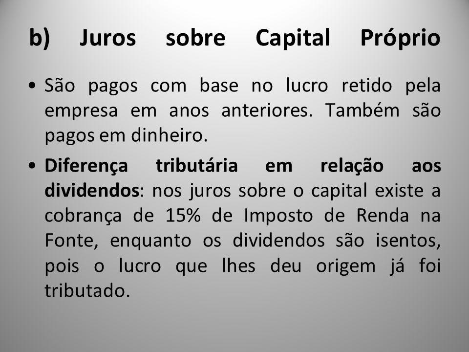 b) Juros sobre Capital Próprio