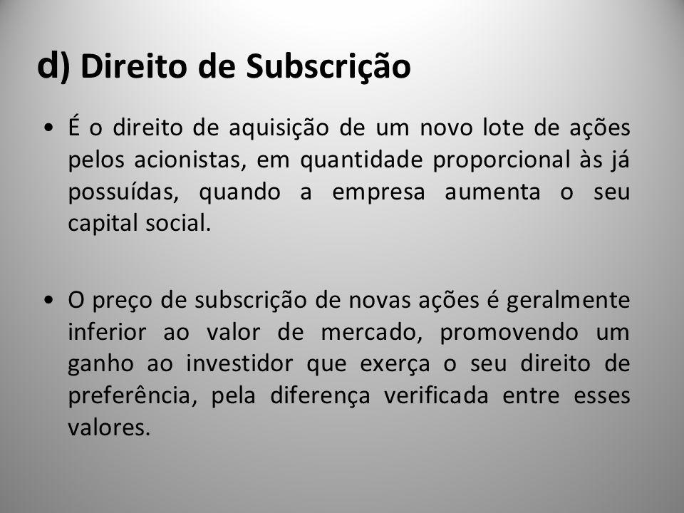d) Direito de Subscrição