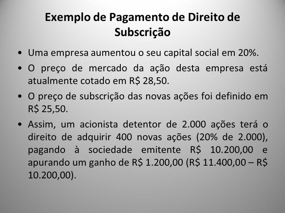 Exemplo de Pagamento de Direito de Subscrição