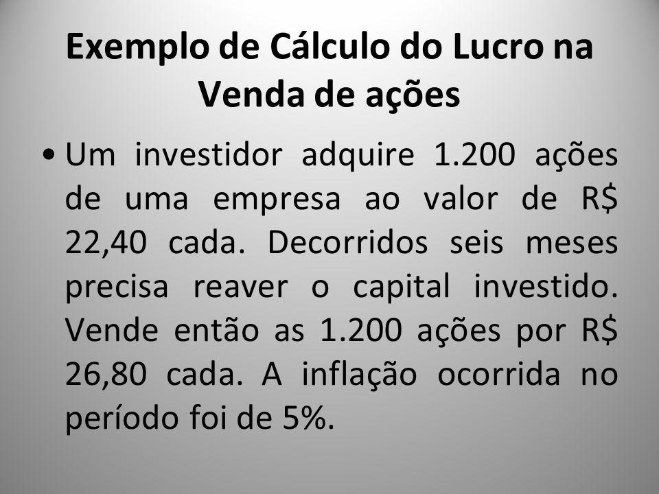 Exemplo de Cálculo do Lucro na Venda de ações