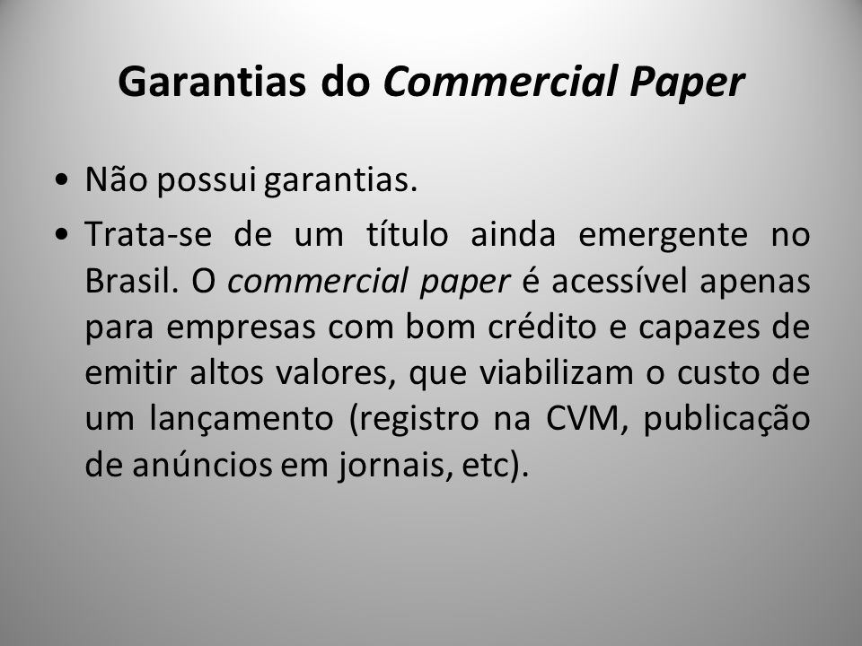 Garantias do Commercial Paper