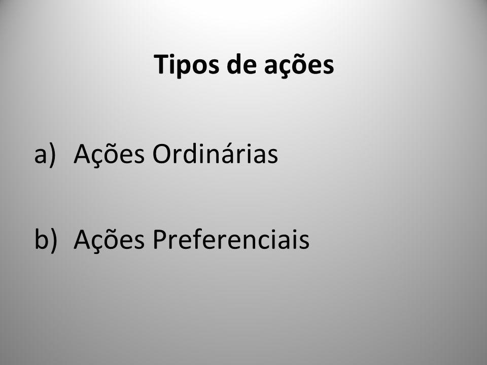 Tipos de ações Ações Ordinárias Ações Preferenciais