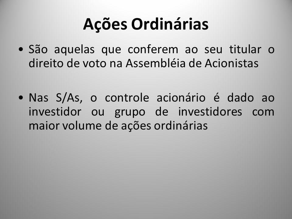 Ações Ordinárias São aquelas que conferem ao seu titular o direito de voto na Assembléia de Acionistas.