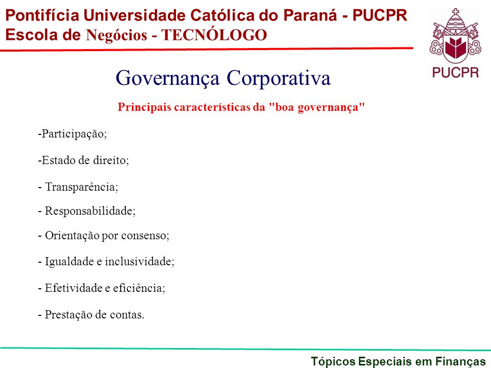 Principais características da boa governança
