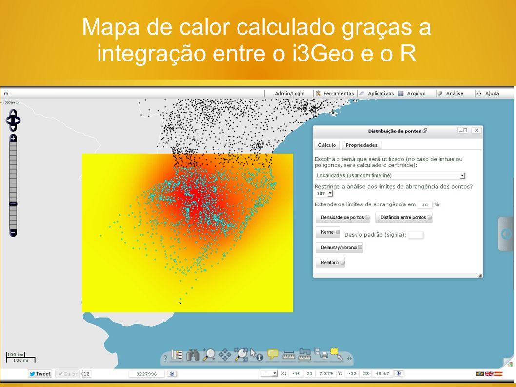 Mapa de calor calculado graças a integração entre o i3Geo e o R