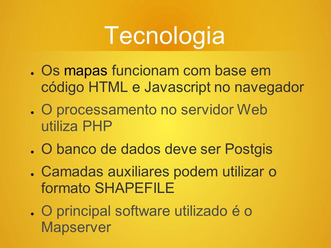 Tecnologia Os mapas funcionam com base em código HTML e Javascript no navegador. O processamento no servidor Web utiliza PHP.