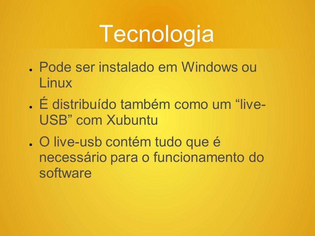 Tecnologia Pode ser instalado em Windows ou Linux