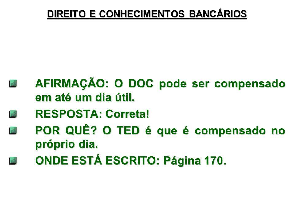 DIREITO E CONHECIMENTOS BANCÁRIOS
