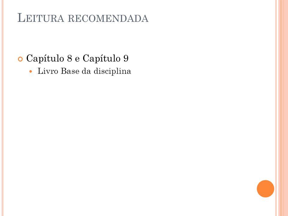 Leitura recomendada Capítulo 8 e Capítulo 9 Livro Base da disciplina