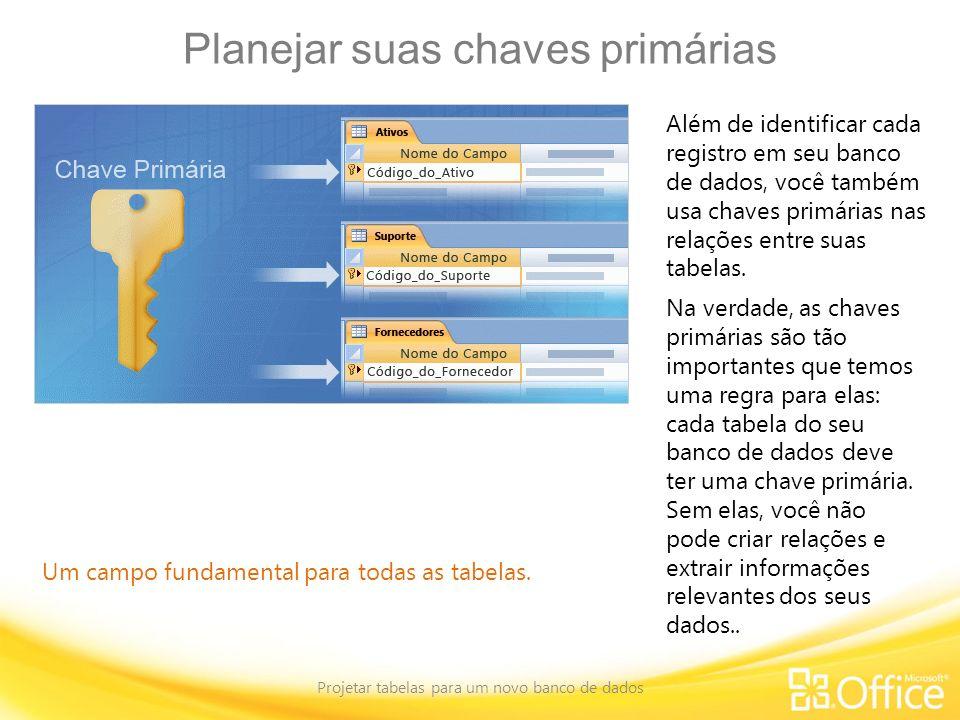 Planejar suas chaves primárias