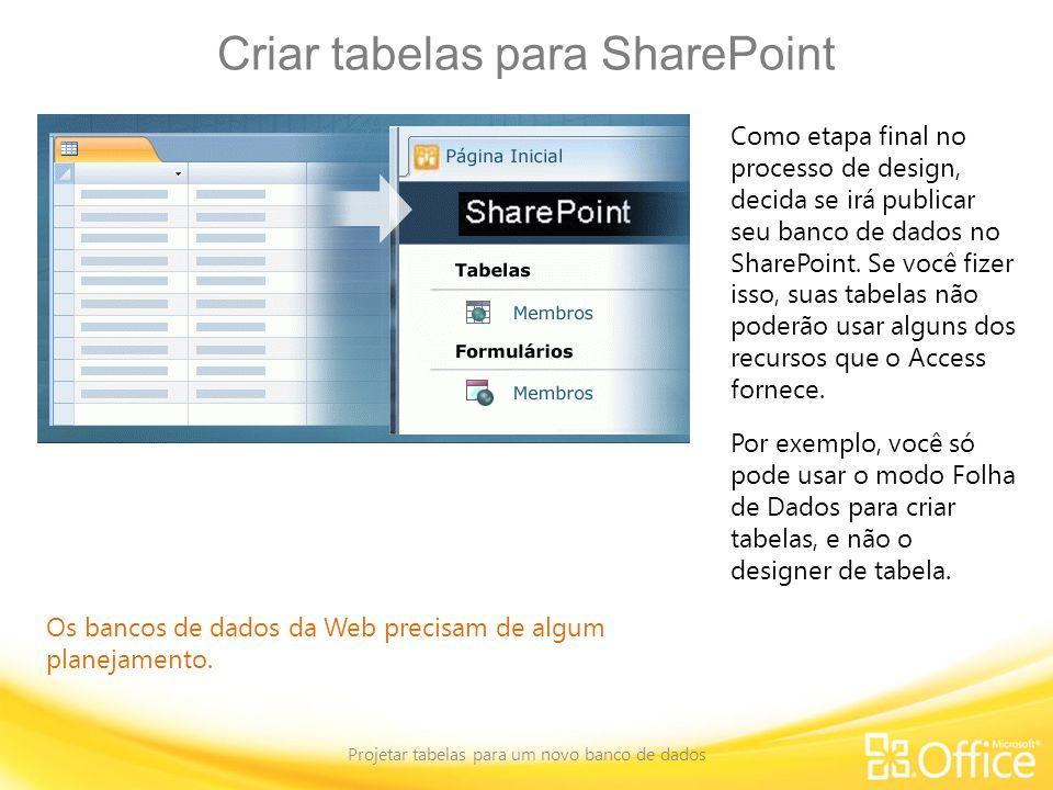 Criar tabelas para SharePoint