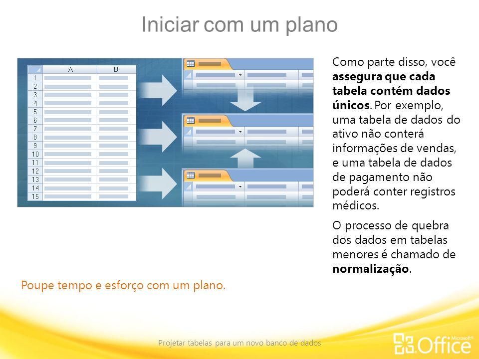 Projetar tabelas para um novo banco de dados