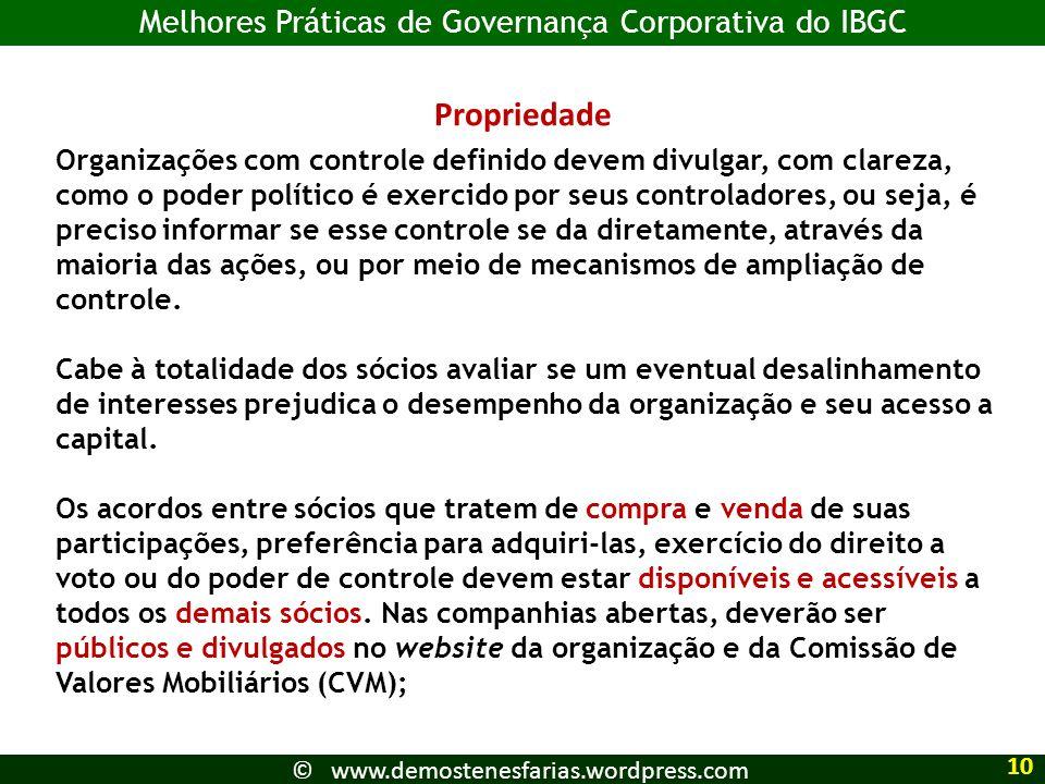Propriedade Melhores Práticas de Governança Corporativa do IBGC