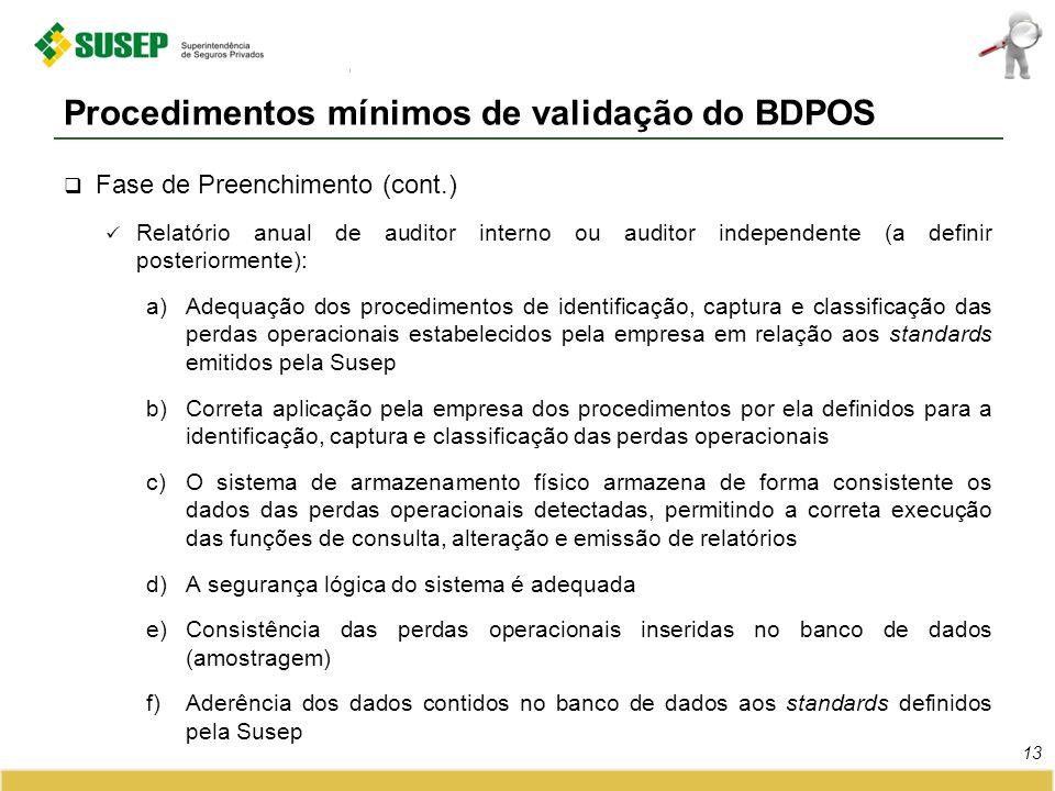 Procedimentos mínimos de validação do BDPOS