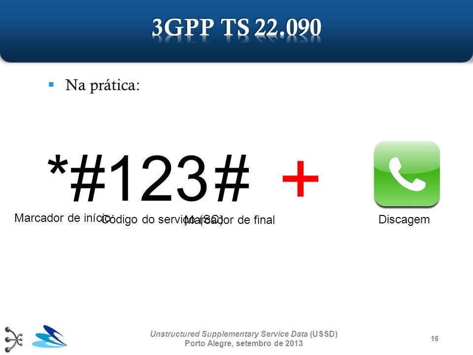 + *# 123 # 3GPP TS 22.090 Na prática: Marcador de início