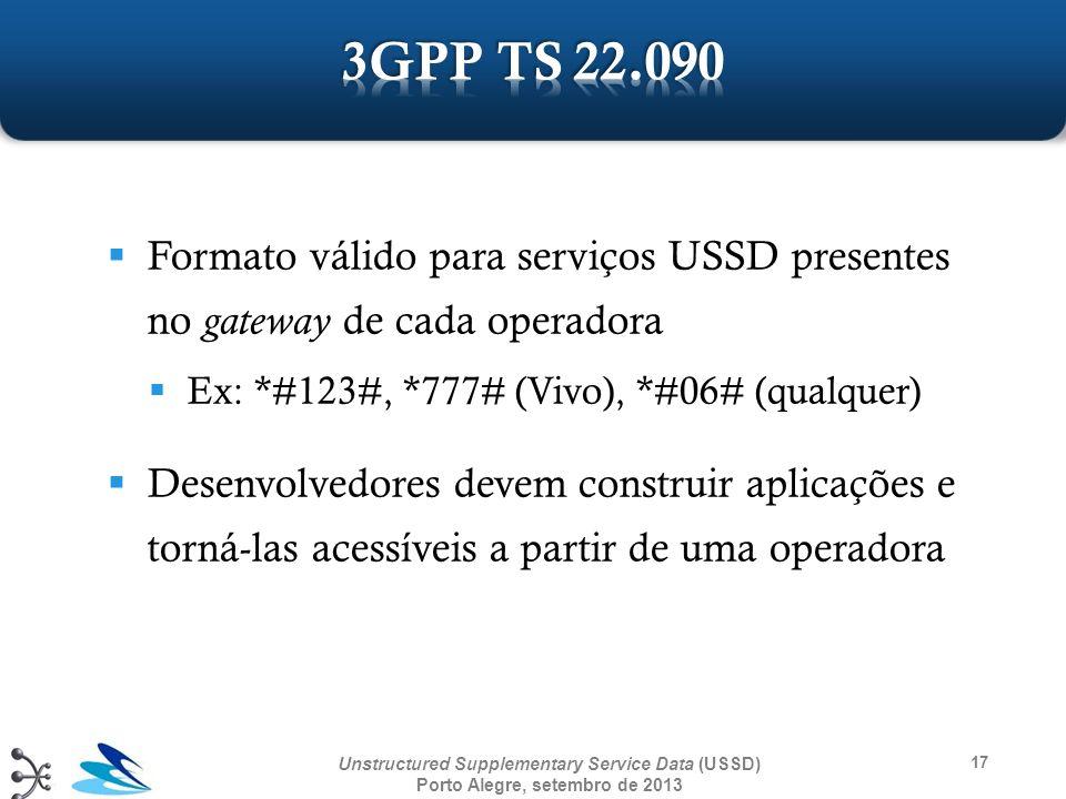 3GPP TS 22.090 Formato válido para serviços USSD presentes no gateway de cada operadora. Ex: *#123#, *777# (Vivo), *#06# (qualquer)