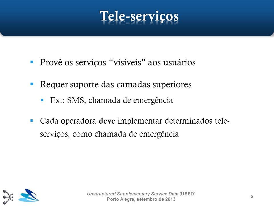 Tele-serviços Provê os serviços visíveis aos usuários