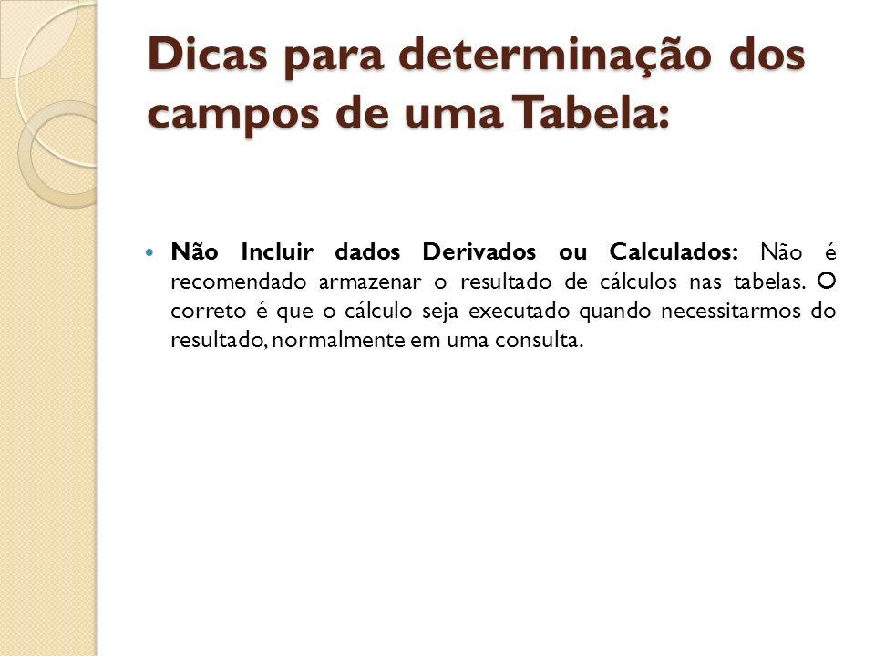 Dicas para determinação dos campos de uma Tabela: