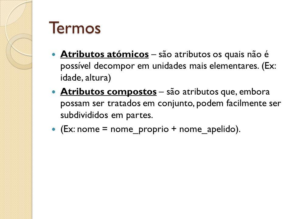Termos Atributos atómicos – são atributos os quais não é possível decompor em unidades mais elementares. (Ex: idade, altura)