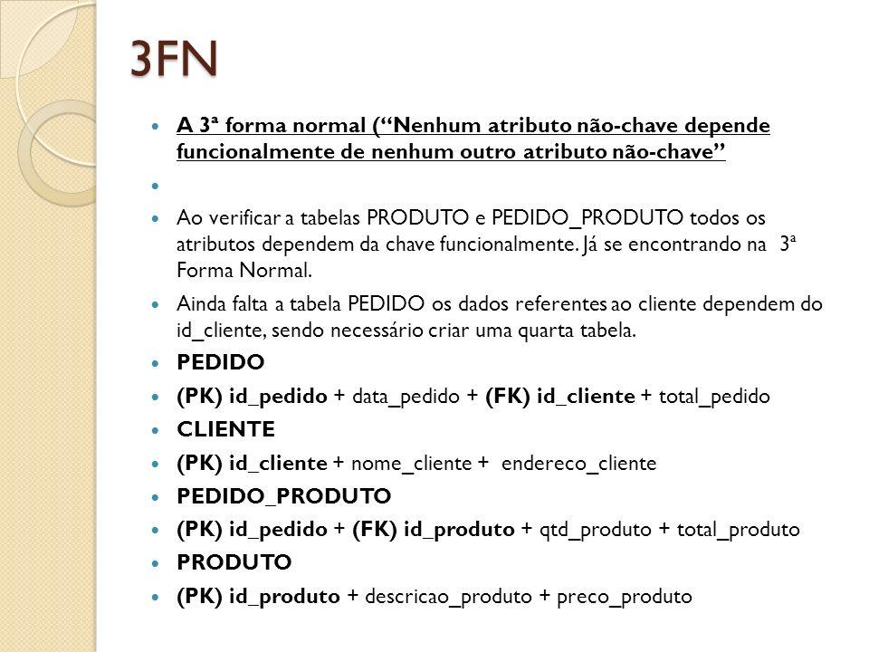 3FN A 3ª forma normal ( Nenhum atributo não-chave depende funcionalmente de nenhum outro atributo não-chave