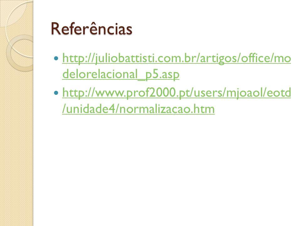 Referências http://juliobattisti.com.br/artigos/office/mo delorelacional_p5.asp.