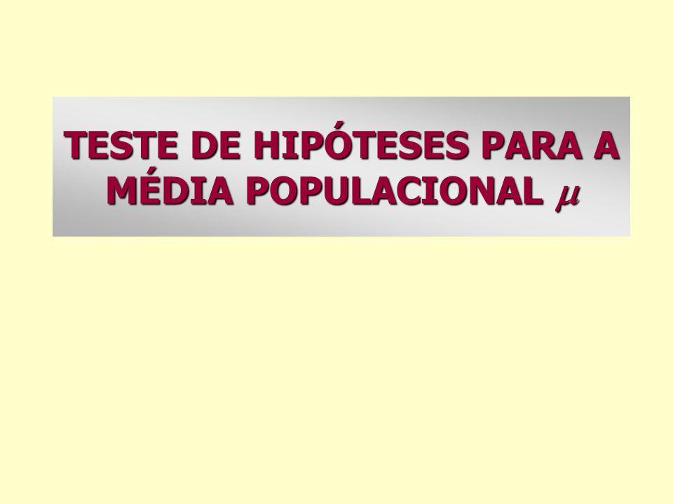 TESTE DE HIPÓTESES PARA A MÉDIA POPULACIONAL 