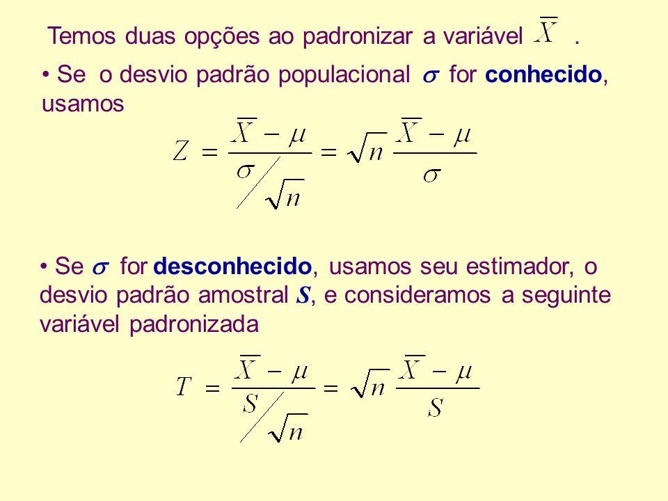 Temos duas opções ao padronizar a variável .
